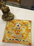 Tibetan Buddhist Silk Brocade Yellow Dragon placemat/Table Cover/Altar Cloth/Shrine Cover