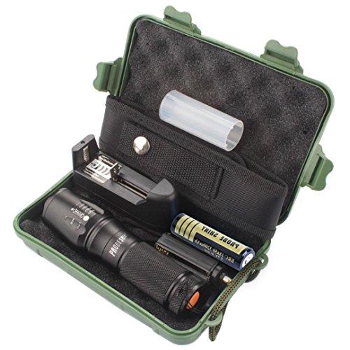 X800 con zoom XML T6 LED linterna táctica + 18650 + cargador + Caso