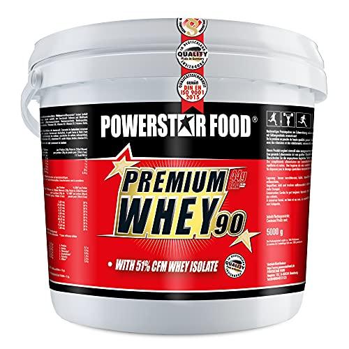 PREMIUM WHEY 90   Ohne Süßungsmittel & Aroma   90% Protein i.Tr.   51% CFM Whey Isolat   Protein aus Weidenmilch   1% Kohlenhydrate   Muskelaufbau & Abnehmen   Deutsche Herstellung   5000g   Natural