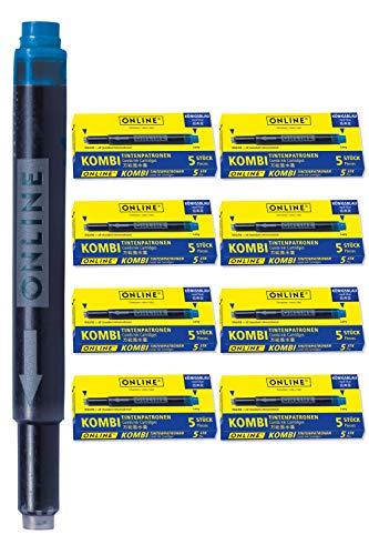 ONLINE 40x Kombi-Tintenpatronen blau, Universal-Patronen, für alle gängigen Füller, auch Lamy-Füller, Ersatz-Patronen, löschbar, auch für Tintenpatronen-Rollerbälle, Vorteilspack köngisblau