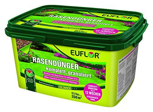 Preisvergleich Produktbild Euflor Rasendünger 12, 5kg granuliertmilder Organisch-mineralischer Spezial-Dünger 10+4+5 mit 2% MgO und 1% wasserlöslichem EisenGranulat zur BodenverbesserungBeseitigt Nährstoffmängel