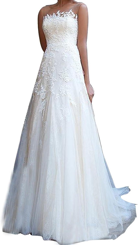 LISA.MOON Women's Vintage Sheer Neck Lace Appliques Backless Beach Wedding Dresses