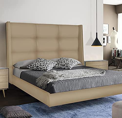 LA WEB DEL COLCHON - Cabecero Tapizado Dalice para Cama de 200 (220 x 120 cms) Beige Polipiel