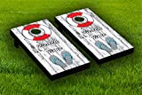 Lifesaver and Flip Flops Cornhole Board Wraps Laminated Sticker Set Skin Decal