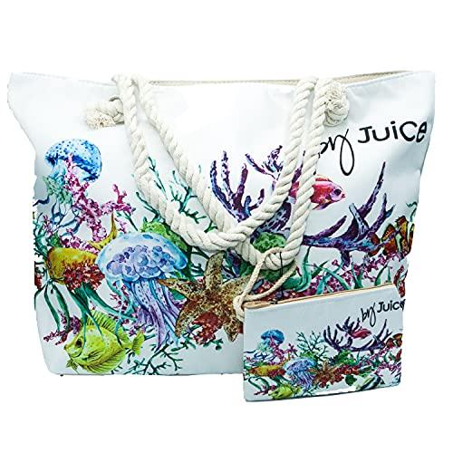 Generico Juice - Bolso de playa para mujer y niña, de gran capacidad, con accesorio a juego, de tela con asas, 48 x 36 x 16 cm Size: Large