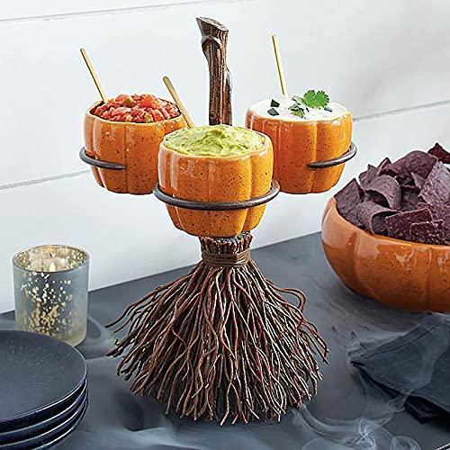 LJM Soporte para tazn de bocadillos con Palo de Escoba,Soporte para tazn de bocadillos de Calabaza de Halloween,decoracin de Canasta de bocadillos Creativa de Halloween Decoraciones para fies