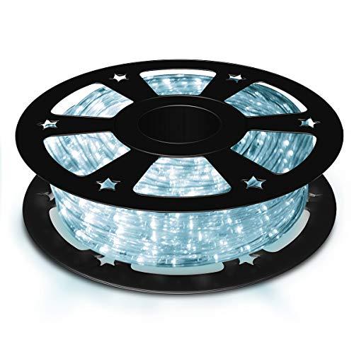 COSTWAY 30M LED Lichterschlauch, Lichtschlauch für Außen und Innen, Lichterkette mit 1080 LEDs, Weihnachtsbeleuchtung Deko (Kaltweiß)