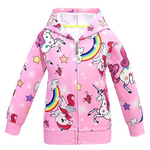 Sudadera con capucha para niñas con estampado de unicornio, otoño, invierno, con cremallera Rosa Estilo02. 4-5 Años