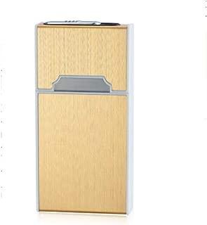 LIFANGAU Cigarette Case, Zinc Alloy Cigarette Case for Slim (11.5 * 6 * 2.1cm) with USB Rechargeable Cigarette Lighter, Black, Silver, Gold, Birthday Gift (Color : Gold, Size : 11.5 * 6 * 2.1cm)