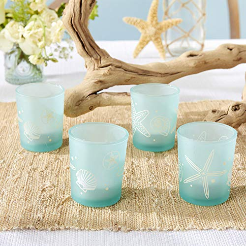 Kate Aspen Beach Party Glass (Set of 4) Holders Votive, One Size, Blue