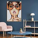 Hermosa modelo con gafas lienzo arte abstracto póster pictórico decorar pintura en sala pared hogar sin marco pintura decorativa A16 60x90cm