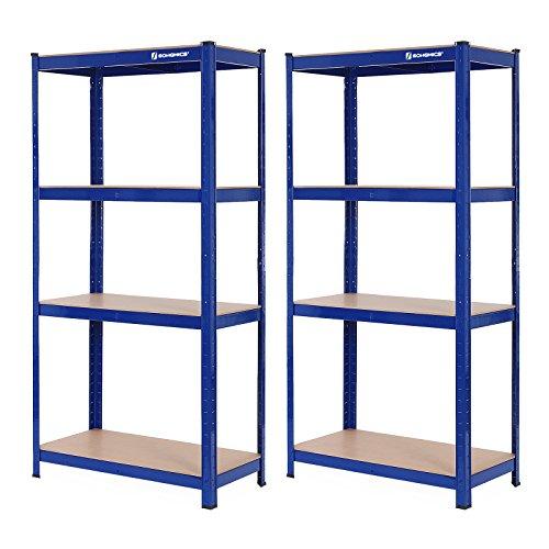 Songmics GLR88Q - Juego de 2 estanterías para Cargas Pesadas, 160 x 80 x 40 cm, soporta hasta 520 kg, 4 estantes Ajustables, estantería de Metal, estantería para Taller, sótano, Garaje, Color Azul