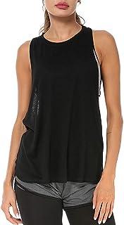 LIERKISS قمصان بدون أكمام للنساء رياضية فضفاضة تناسب التمارين الرياضية ملابس رياضية ريسر باك قمصان قطنية (أسود ، M)