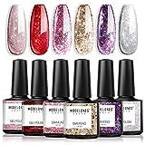 Modelones Glitter Gel Nail Polish Set - 6pcs 10ml Soak Off UV LED Glitter Diamond Series Nail Gel Varnish Manicure Kit