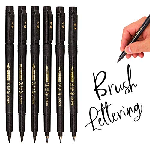 Hand Lettering Pens, Calligraphy Pen,Refillable Calligraphy Pen Hand Lettering Pens -4 Size Calligraphy Pen(6 Pack),Calligraphy, Beginners Signature,Writing Art Drawing,Illustration