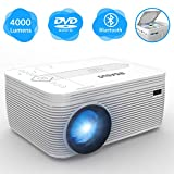 BIGASUO Projector with DVD Player , Portable Bluetooth Projector 4000 Lux Built...