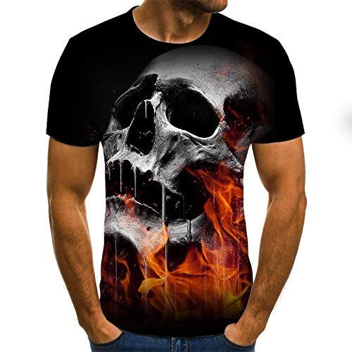 T Shirt Men Clothes Mens Summer Skull Print Men Short Sleeve T-Shirt 3D Print T Shirt Casual Breathable Funny T Shirts XS Txu-1745