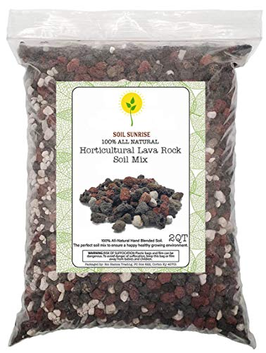 Horticultural Red and Black Lava Rock and Pumice Potting Soil Amendment Mix for Bonsai, Cactus, and Succulent Plants - Decorative Gravel for Terrarium, Gardening, and Top Dressing - 2QT
