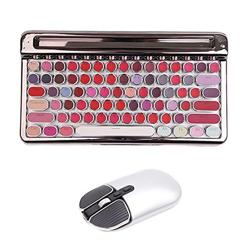 Juego de teclado y ratón inalámbricos retro, teclado mecánico inalámbrico Bluetooth con interruptor azul con ratón inalámbrico Bluetooth para ordenador portátil/tableta - plata