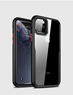 MOKO iphone 11 Pro Max Case, Transparent Hard Back Flexible Black Frame