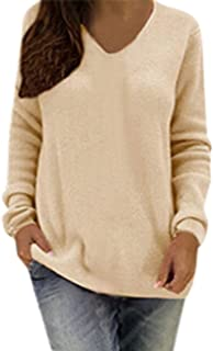 FAPIZI Women's Sweater Fashion V Neck Long Sleeve Solid Color Knitwear Sweatshirts Pullover Top Plus Size Sweater Blouse