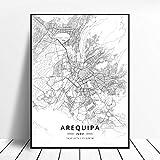 lubenwei Póster Lima Cusco Trujillo Arequipa Perú Canvas Art Map 50x70cm Sin Marco AQ-794