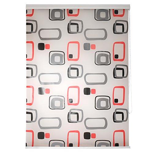 TEXMAXX Duschrollo im Viereck-Retro-Design (DROLLO1), 140 cm breit Halb-Kassetten Duschvorhang mit Seitenzug, mit weißen Leisten - inkl. Zubehör