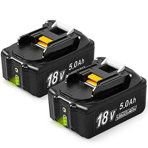 [2 Stück]Bsioff 18V 5,0Ah Lithium-Ionen Ersatzakkus Ersatz für Makita Akku 18V BL1850B BL1860B BL1840 BL1830 BL1815 194205-3 194309-1 LXT400 Werkzeugakkus