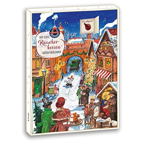Crottendorfer Räucherkerzen Der Echte Räucherkerzen-Adventskalender - Motiv Weihnachstmarkt - Original (24 Stück)