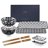 vancasso serie Haruka Vajillas de Sushi Japonés 8 Piezas, 2 Platos para Sushi, 2 Cuencos, 2 pequeños Platos de Salsas, 2 Pares de Palillos Madera, con Caja de Regalo, Set de Sushi