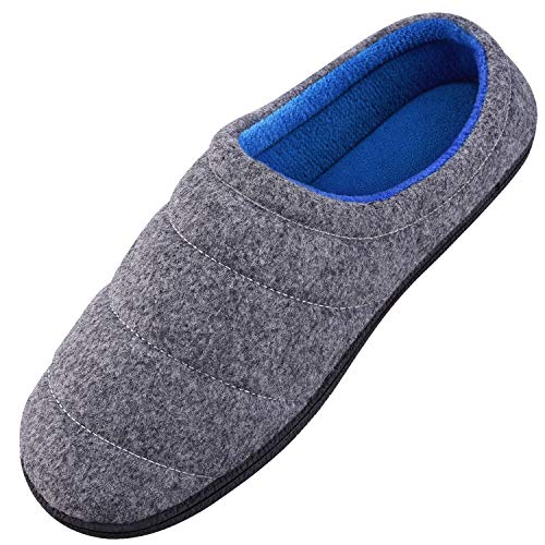 Homitem Mens Slippers Duo-Tone Memory Foam Slippers with Bread Shape, Slip on Clog House Shoes with Anti-Skid Indoor Outdoor Rubber Sole, Size US13