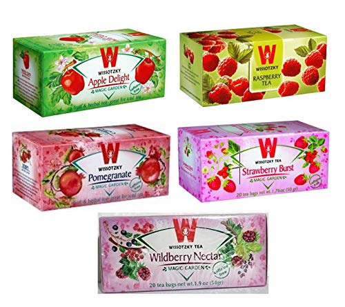 Wissotzky Assorted Herbal Fruit Teas Set, 5 boxes (Total 100 Tea bags) A Wonderful Variety of Strawberry, Raspberry, Wild-berry, Pomegranate & Apple Delight Flavors, Certified Kosher