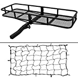 ARKSEN 60' x 24' x 6' Hitch Mount Folding Angled Shank Cargo Carrier Luggage Basket with Cargo Net Fit 2' Receiver 500LBS Capacity Camp Travel Fold Up SUV Camping, Black