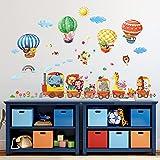 DECOWALL DA-1406 Treno con Animali e Mongolfiere Adesivi da Parete Decorazioni Parete Stickers Murali Soggiorno Asilo Nido Camera da Letto per Bambini