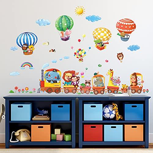 DECOWALL DA-1406 Tren de Animales y Globos Aerostáticos Vinilo Pegatinas Decorativas Adhesiva Pared Dormitorio Salón Guardería Habitación Infantiles Niños Bebés