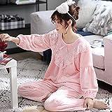 Las Mujeres De Manga Larga Pijama Conjunto Pijamas Set de manga larga ropa de dormir de las mujeres de vacaciones pijama Fleece 2-pieza completa del chándal de terciopelo grueso franela princesa Inici