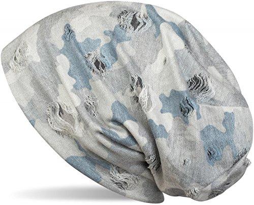 styleBREAKER Beanie Mütze mit Camouflage Muster im Destroyed Vintage Used Look, Slouch Longbeanie, Unisex 04024102, Farbe:Grau-Blau