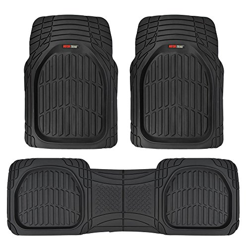 Motor Trend MT-923-BK Black FlexTough Contour Liners-Deep Dish Heavy Duty Rubber Floor Mats for Car SUV Truck & Van-All Weather Protection, Universal Trim to Fit