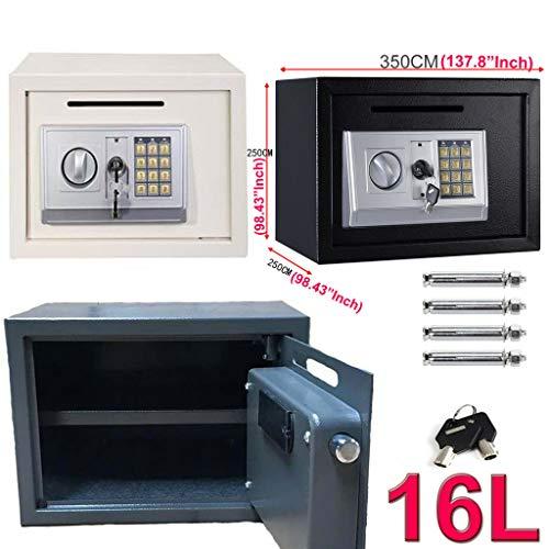 Digitaler Tresor mit Schlüssel und Einwurfschlitz, 35x25x25cm Möbeltresor Groß Elektronischer Safe Wandtresor - Stahltür Sicherheitsschrank - Grau