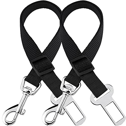 SunGrow 2 Cinturones de Seguridad de Longitud Regulable para Mascotas (49,8 a 80,3 cm), cómodos y Seguros, con mosquetón Universal, garantizan la Seguridad de tu Mascota Durante los Viajes en Coche