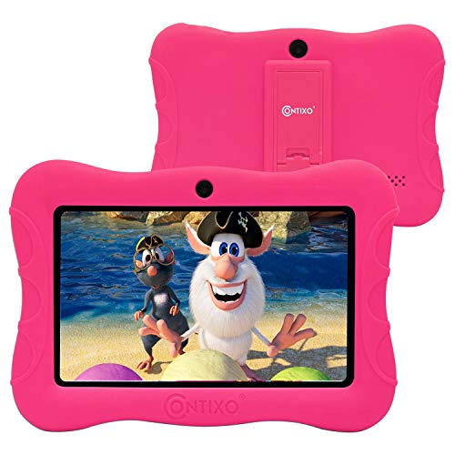 Contixo 7 Inch Kids Learning Tablet Parental Control 16GB Android 9.0 for at Home School Children Infant Toddlers - Pre-Loaded Educational Apps - Child-Proof Case - Great Gift for Children (Pink)