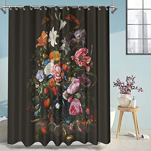 Thinyfull Flower Shower Curtain, Peonies Roses Modern Oil Painting Textured Black Background Bathroom Curtains, Waterproof Washable Fabric Bath Decor with Hooks, 72x72 inches