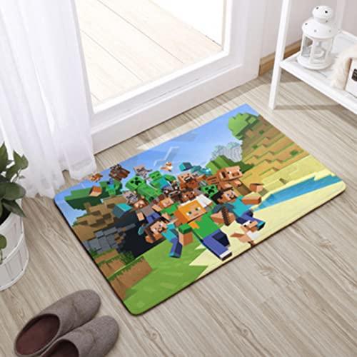 Tapis Lavable Anime Minecraft Modèle Moderne Rectangulaire Salon Chambre Enfants Chambre Porte Tapis Salle De Bain Antidérapant Tapis De Sol