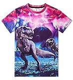Funnycokid Little Boys Girls Dinosaur T Shirt Kids Child Short Sleeve Summer Beach Tee Shirts Size 6-8