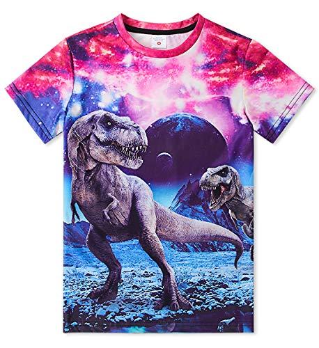 Idgreatim Ragazzo Ragazze 3D Dinosaurs Graphic Manica Corta Cool Funny Ragazzo t Shirt Top Tee Taglia 10-12