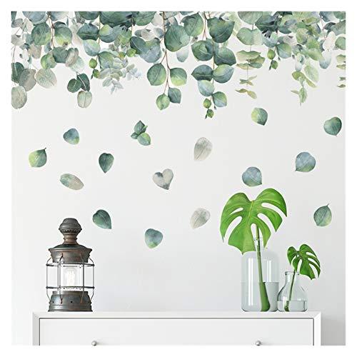 WHBGKJ Pegatinas de Pared Etiqueta de Pared Verde Eucalyptus Hojas Pegatinas para Sala de Estar Dormitorio Baño Vintage Casa Decoración Pósteres Mural 50 * 70 cm