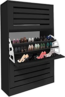Shoe Cabinet Rack Shelf Wooden Shoes Storage Organiser with 3 Drawers 45 Pairs Black