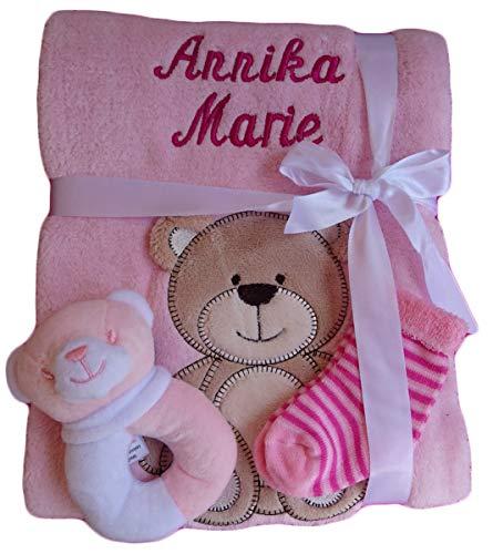 *Babydecke mit Namen bestickt + Zugabe Babysocken Babyrassel Greifling Baby Taufe (rosa Bär)*