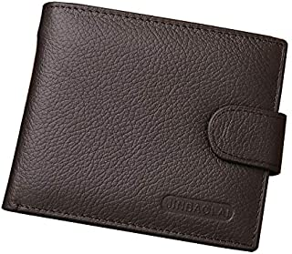 Genuine Cowhide Leather Men's Trifold Wallet Vintage Style Credit Card Holder Short Men Business Male Wallet Zipper Purse,...