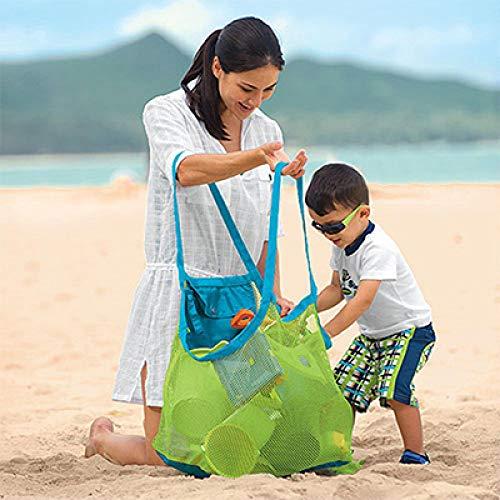 siqiwl Juguete de Playa Bolsos portátiles de Malla de Almacenamiento de mar para niños Beach Sand Toys Net Bolsa de Agua diversión baño Toallas de Ropa de baño Mochilas green339